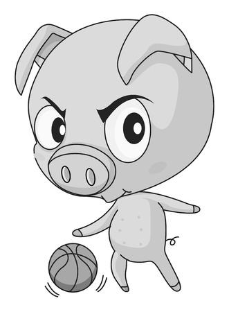 grosse tete: Cochon avec grande basket t�te de lecture