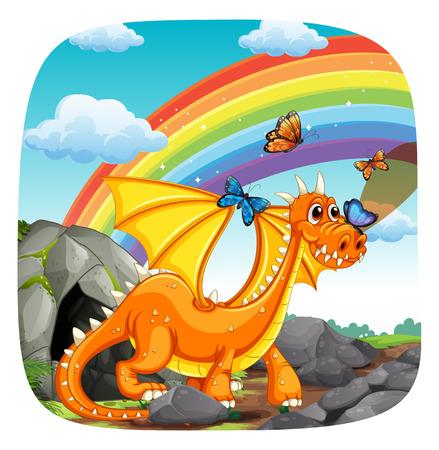 Cartel de un dragón de pie con arco iris y mariposas en el fondo Foto de archivo - 41727243