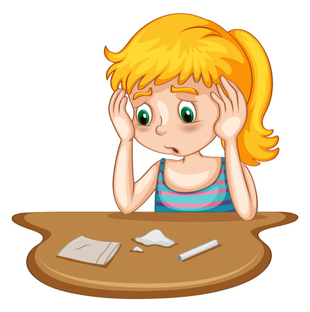 harmful: Poster of a girl doing drug with drugs and tools on the table