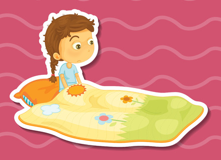 blanket: Sticker of a girl sitting in a blanket with a sad expression