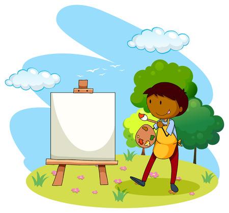 hombre pintando: Cuadro de la pintura del artista en el parque Vectores
