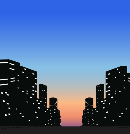 business buildings: Silhouette business buildings in the city
