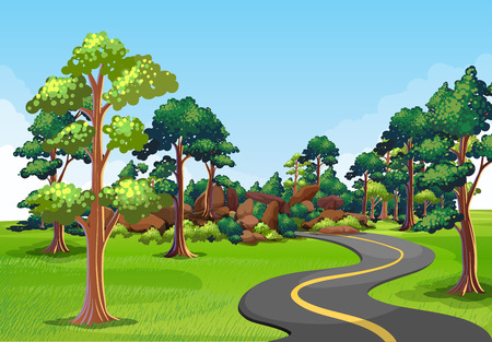 clean street: Scenery of a road with green environment on the sides Illustration