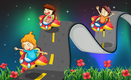 curve road: Children riding car on the curve road Illustration