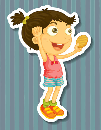 potato chip: Girl holding potato chip in hand jumping