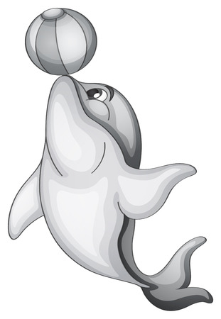 beach ball: Dolphin playing with beach ball Illustration