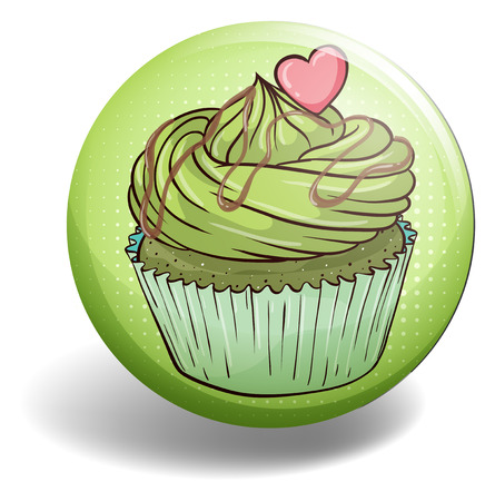 topping: Green tea cupcake with cream and heart topping