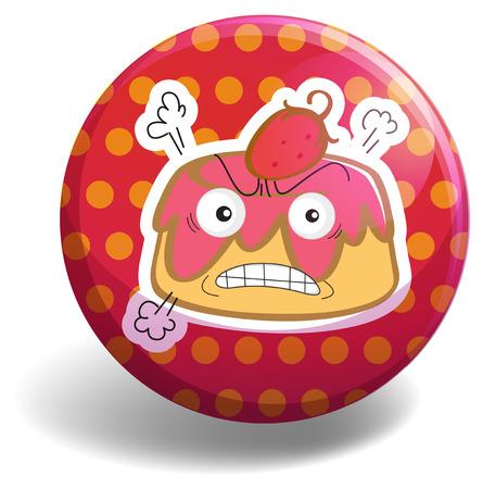 custard: Angry custard on polka dot badge