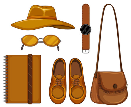 accessory: Set of accessory made of brown leather