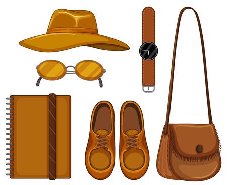 accessoire: Set van accessoire gemaakt van bruin leer