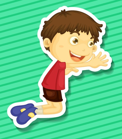 Sticker of a boy kneeling on the trying to reach out for something Illustration