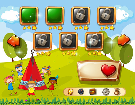 menu land: Game template with children and teepee background Illustration