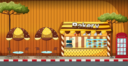 sidewalk: Bakery shop with outdoor tables and chairs