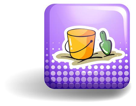dug: Yellow bucket and spoon on purple icon