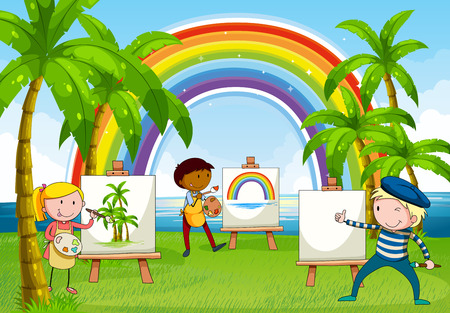 children painting: Children drawing and painting near the lake