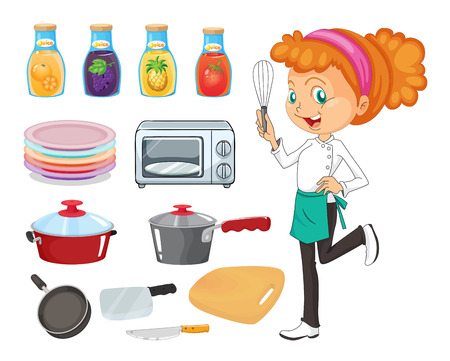 female chef: Set of female chef and kitchen equipments and drinks