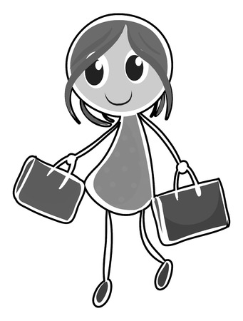 both: Girl carrying shopping bags in both hands Illustration