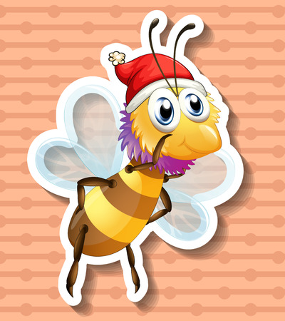 flying hat: Yellow bee with christmas hat flying