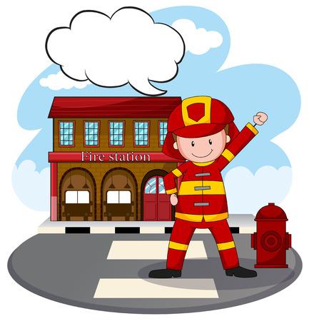 brandweer cartoon: Brandweerman staande voor brandweerkazerne