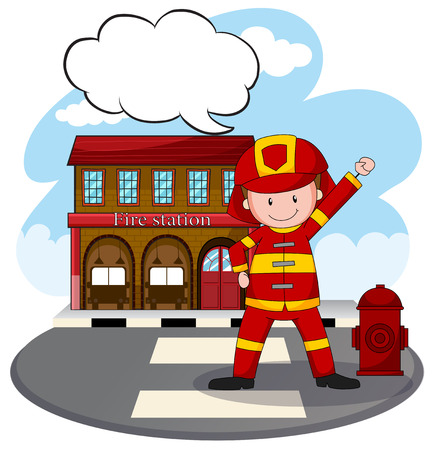 building fire: Fire fighter standing in front of fire station Illustration
