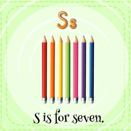 kid s illustration: Flashcard letter S is for seven