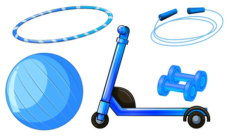 blue design: Flashcard of blue color theme with exercising equipments Illustration