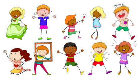 children drawing: Children with different actions on white background