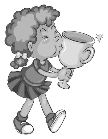 Cute girl kissing winning trophy