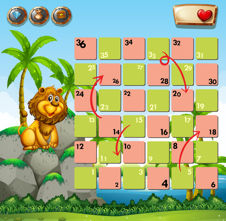lion drawing: Game template with lion on rock as background Illustration
