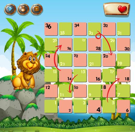 lion dessin: Modèle de jeu avec le lion sur un rocher comme toile de fond