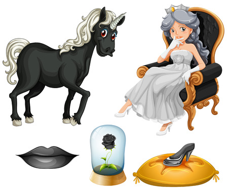 fantacy: Set of fairy tales with princess and unicorn in black Illustration