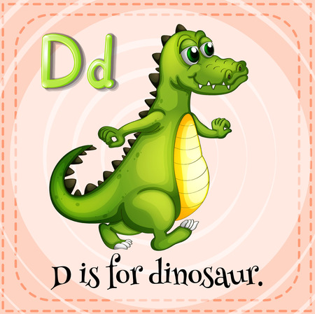 niños escribiendo: Grupos de tarjetas del alfabeto D es para el dinosaurio Vectores