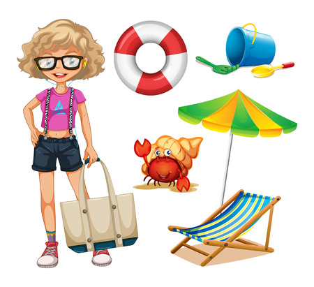 girls at the beach series: Set of hipster girl and beachware