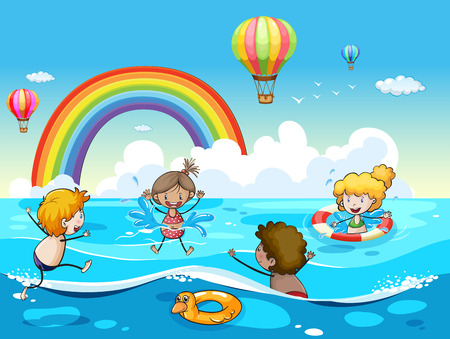 floating: Poster of children playing in the sea with clear sky and a rainbow in the background