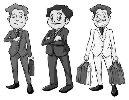 attire: Men in formal attire illustration in black and white Illustration