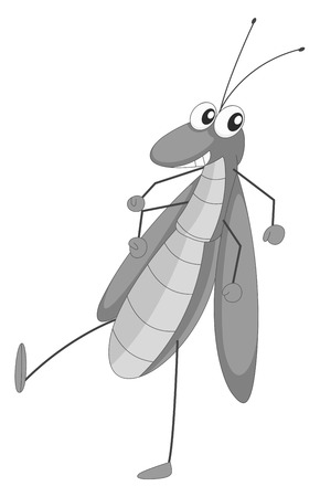 hopper: Happy grasshopper walking in black and white Illustration