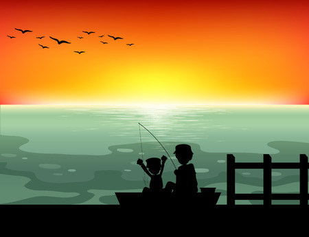 sea horizon: Silhouette people fishing in the ocean