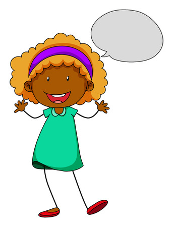 hairband: Poster of a girl in talking gesture on a white background Illustration
