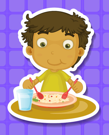 close up food: Boy sitting and eating the meal