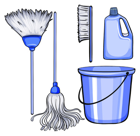 household chores: Different kind of cleaning tools Illustration