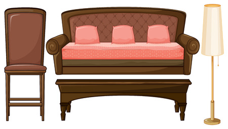 wood chair: Set of living room furniture with brown and pink theme Illustration