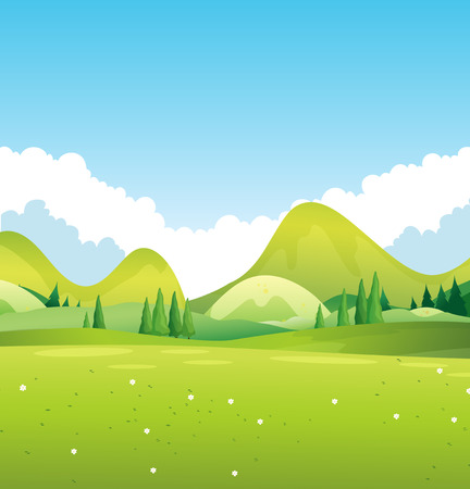 grass and sky: Scenery of green nature illustration Illustration