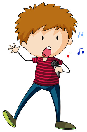 cartoon singing: Singing boy character standing alone Illustration