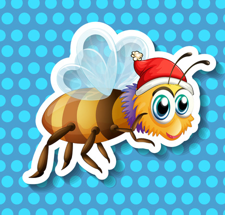 flying hat: Bee with christmas hat flying