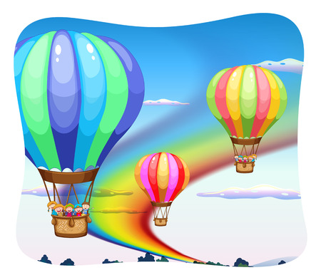 daytime: Three balloons floating in the sky at daytime Illustration