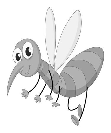mosquito bite: Happy mosquito flying in black and white