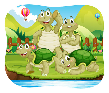 river bank: Turtle family by the river bank