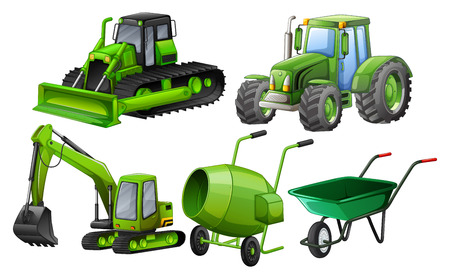 Flashcard of green color theme with construction machines