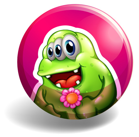fake smile: Monster holding flower in a round badge