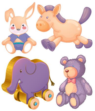 Stuffed animals and wooden elephant toy Illustration